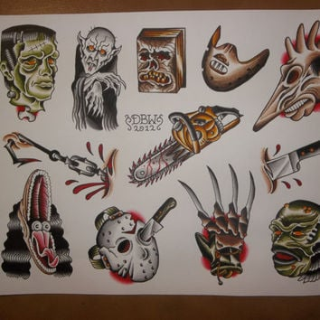 Horror: Traditional Tattoo Flash Sheet