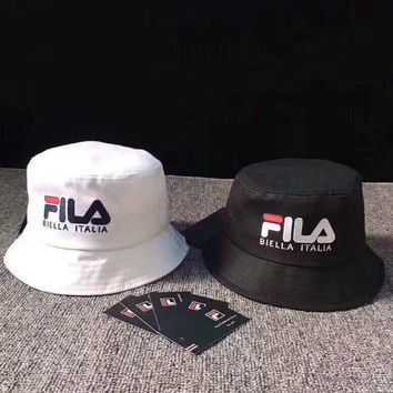 fila unisex casual multicolor letter bucket hat fisherman cap couple fashion sun hat