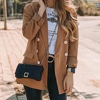 Casual Solid Blazer For Women Long Sleeve Office Lady Suit Jacket Khaki Streetwear Female