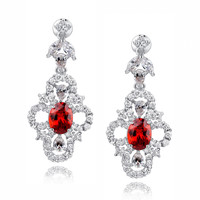 Red Oval and Clear Teardrop, Marquise and Round Cubic Zirconia Earrings