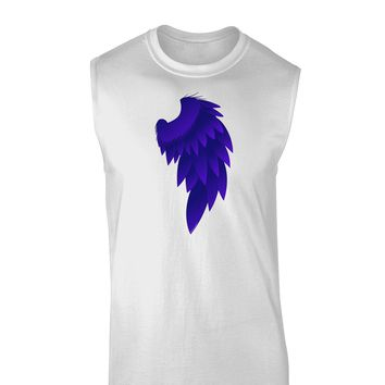 Single Right Dark Angel Wing Design - Couples Muscle Shirt