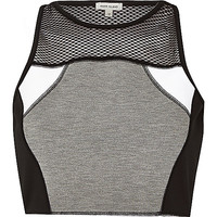 River Island Womens Grey mesh panelled crop top