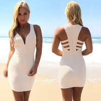 Midnight Crush Bodycon Dress In Nude