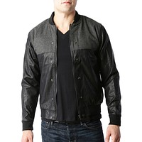 Mens Vintage Faux Leather Varsity Bomber Jacket with Pockets (CLEARANCE) (CLEARANCE)
