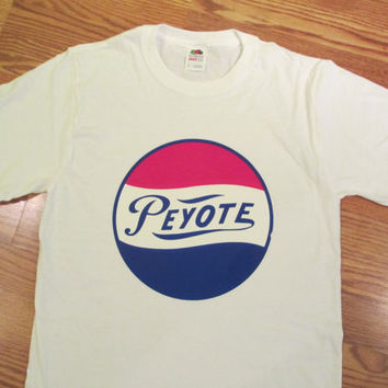 Vintage 70's Peyote 'Pepsi' Transfer on New T Shirt