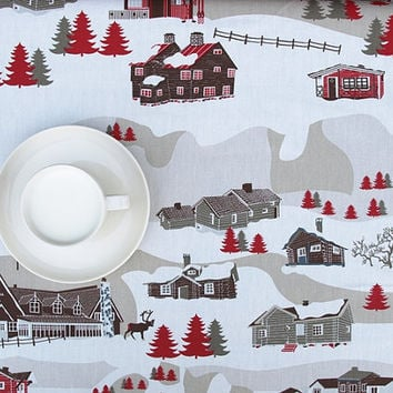 Tablecloth white grey beigr brown red houses Village Scandinavian Design ,also napkins , runners , curtains available, great GIFT