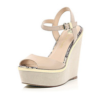 River Island Womens Nude peep toe wedges