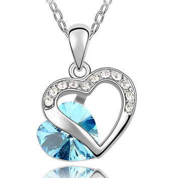 Crystal Heart Charm Pendant Necklace  10 colors mixed