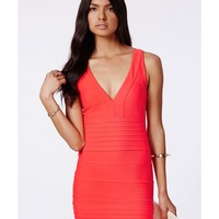 Missguided - Leena Neon Coral Bandage Bodycon Dress