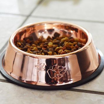 FluffyPal Bronze Dog Food Bowl, Durable and Rust Proof Stainless Steel Construction Pet