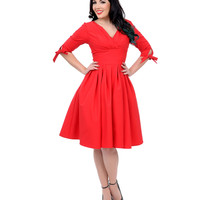 Unique Vintage 1950s Style Red Three-Quarter Sleeve Diana Swing Dress