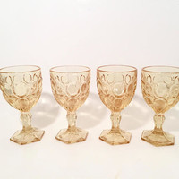 Yellow Fostoria Moonstone Wine Glasses, Set of 4 Vintage Yellow Glass Goblets