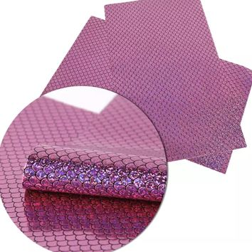 Metallic hot pink mermaid scale faux leather fabric sheet