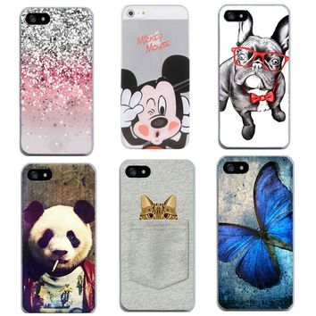 Ultra Thin TPU Case For iPhone 5C 5 5S SE 6 6S 7 Panda Butterfly Printed Pattern Phone Cases Silicone Rubber Cover Coque