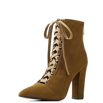 Bamboo Pointed Toe Lace-Up Booties | Charlotte Russe
