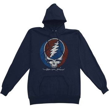 Grateful Dead Men's  Distress Your Face Hooded Sweatshirt Blue