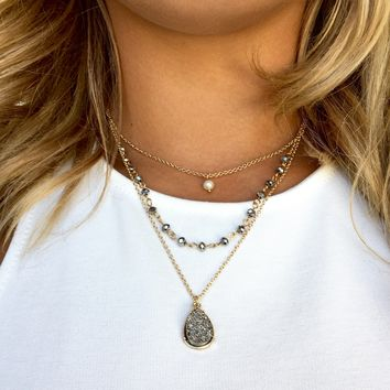 Sparkle & Shine Grey Layered Necklace