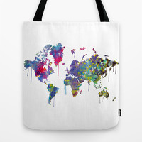 World Map Watercolor Tote Bag by Bitter Moon