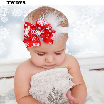 Baby Christmas Headband Feather Bow Snow Flower Girls HairBand Toddler Baby Headwear Merry Christmas Hair Accessories TWDVS W245