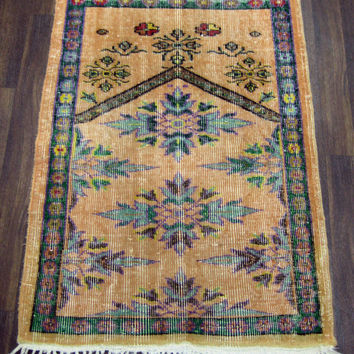 Vintage Turkish Oushak Rug With Prayer Design 49x 35 inches Free Shipping