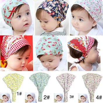 Summer Autum Baby Hat Print Cotton Children Hat Scarf Collar Spring Baby Cap Kids Boys Girls Beanies Toddler Hats Set