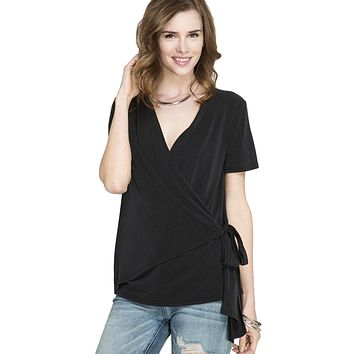She + Sky Women's Short Sleeve Modal Knit Surplice Faux Wrap Top with Side Tie