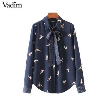 Cute bird print shirts sweet dots bow tie neck long sleeve pleated blouses vintage loose ladies casual tops