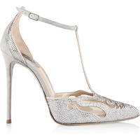 René Caovilla - Embellished suede and mesh pumps