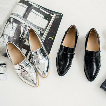 Glossy Pointed Low Heel Loafers - I know you wanna kiss me. Thank you for visiting CHUU.