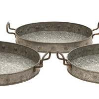 Harvey & Haley Galvanized Trays Designed with Great Precision - Set of 3