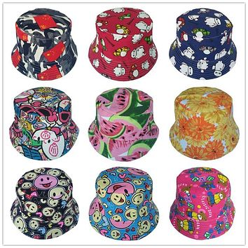 Moeble Outdoor Children Floral Bucket Hat Cute Cotton Girls Boys Summer Beach Fedora Cap Fisherman Cap 50 Colors 1pc H391