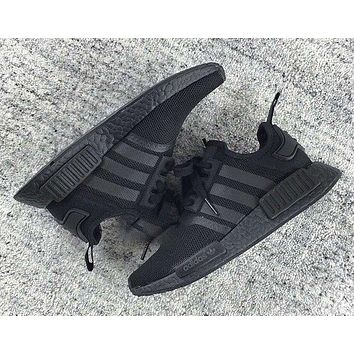 Adidas NMD R1 3M Reflective shoelace Fashion Trending Running Sports Shoes NMD RUNNER PK Color ALL Black