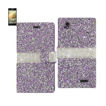 REIKO ZTE WARP ELITE JEWELRY RHINESTONE WALLET CASE IN PURPLE