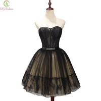 New Sexy Short Black Strapless Sleeveless Cocktail Dress Banquet Mini Lace Flower A-line Party Gown Formal Dress