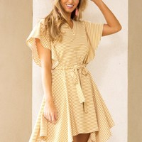 Social Butterfly Dress in Mustard | Monday Dress Boutique