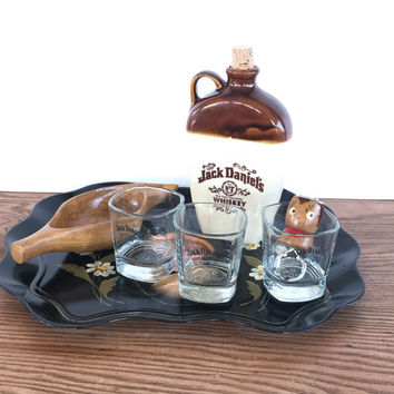Vintage Jack Daniels Gift Tray Jug Glasses Wood Bowl Bottle Opener Bar Supplies Bar Tray