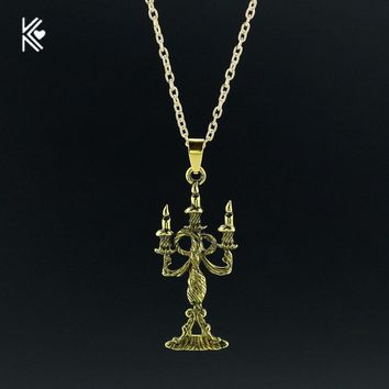 New Arrived Beauty and the Beast Lumiere Candelabra Charm pendant &Necklace Choker Pendant Bronze Long Necklace