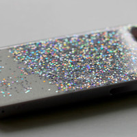 For iphone 4 4s 5s 5 5c 6 plus Glitter Sparkle BLing case cover Silver Skin hard