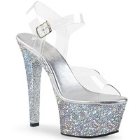 Silver Glitter Ankle Strap Sandal With 6 Inch Heels Stripper Shoes