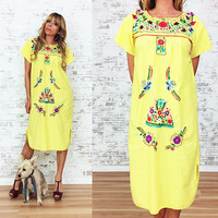 Vintage 1970's CANARY Yellow Handmade Mexican Embroidered Oaxan Boho Hippie Festival Dress || Size Small Medium