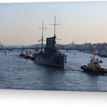 'Russian Revolutionary Cruiser Aurora' Greeting Card by Malcolm Snook
