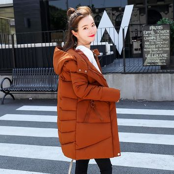 Winter Thickening Women Parkas Women's Wadded Down Outerwear Fashion Medium-Long Cotton-padded Casual Jacket Plus Size Coat