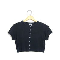Cropped Black TShirt 90s Short Sleeve Shirt Grunge Button Front Top Plain Black Tee 80s Vintage Basic Women XS Small
