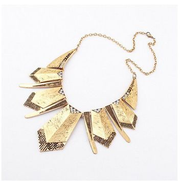 H276 New Hot Sell Vintage Metal Geometric Multi Armor Shield Pendant Necklace