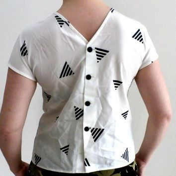 White Blouse with black Geometric design, Retro Sleeveless Ladies Top, Size S, vintage, Linen Women shirt, Buttoned Linen Blouse, Made in UK