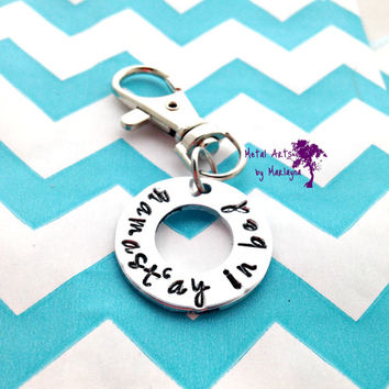 SALE Namast'ay in bed Hand Stamped Key Chain Yoga Jewelry Namast'ay Key Chain Inspirational Quote jewelry life quote jewelry Hand Stamped Je