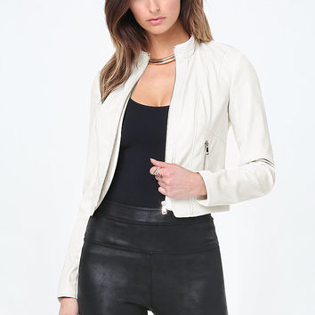 Seamed Faux Leather Jacket | bebe