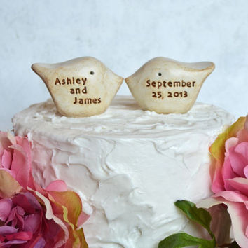 Wedding cake topper...Love birds... Custom names and wedding date ... Anniversary gift