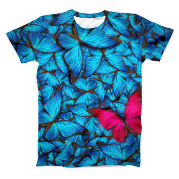 The Contrasting Butterfly ink-Fuzed Unisex All Over Full-Printed Fitted Tee Shirt