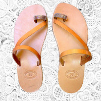 Diamond toe ring leather sandals, women sandals, greek tan sandals, beach sandals, bridal beach wedding sandals, women shoes,toe sandals